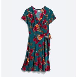 Kaileigh Arnett Faux Wrap Knit Dress Floral Small
